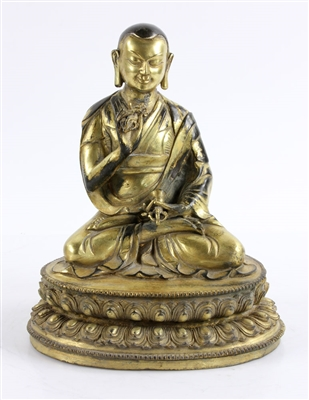 Chinese Gilt Bronze Lama Figure
