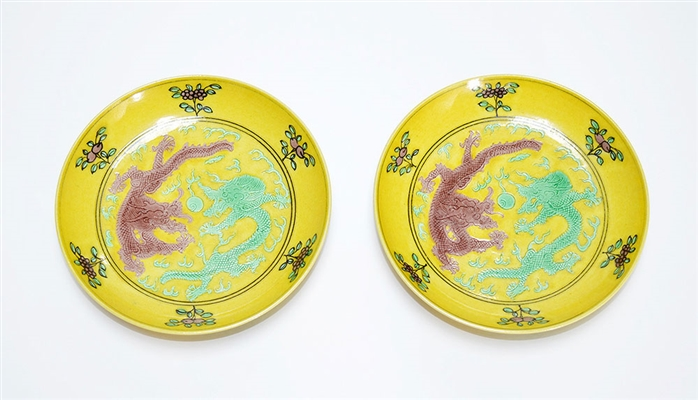 Pair of Chinese Famille Verte Dishes