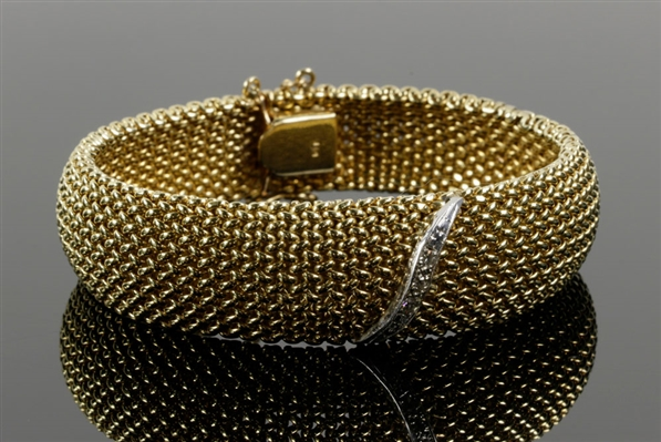 14K Gold Mesh and Diamond Bracelet