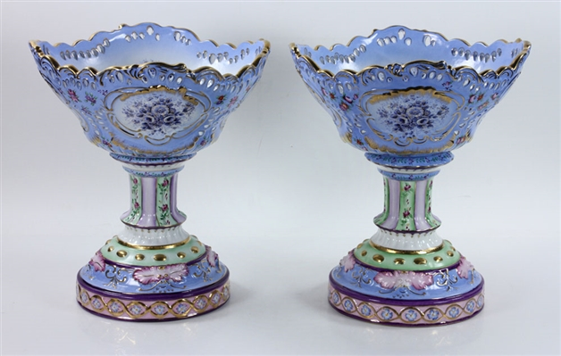 Pair of Dresden Porcelain Compotes