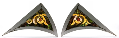Pair of Stained Glass Architectural Elements