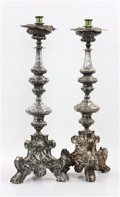 18th to 19th C. Spanish Colonial Silver Candlesticks