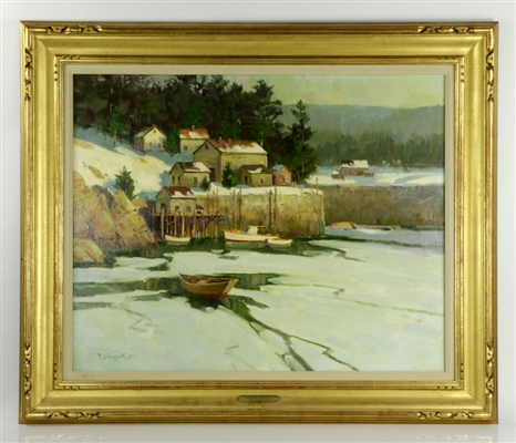 "Strisik, ""Winter Harbor,"" Painting"