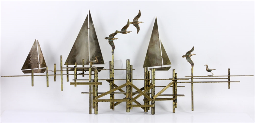 Curtis Jere, Wall Sculpture, Copper & Bronze