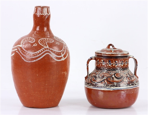 Two Decorated Redware Jugs