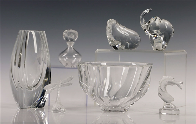 Crystal Lot, Lalique, Waterford, Orrefors, Baccarat, Rosenthal
