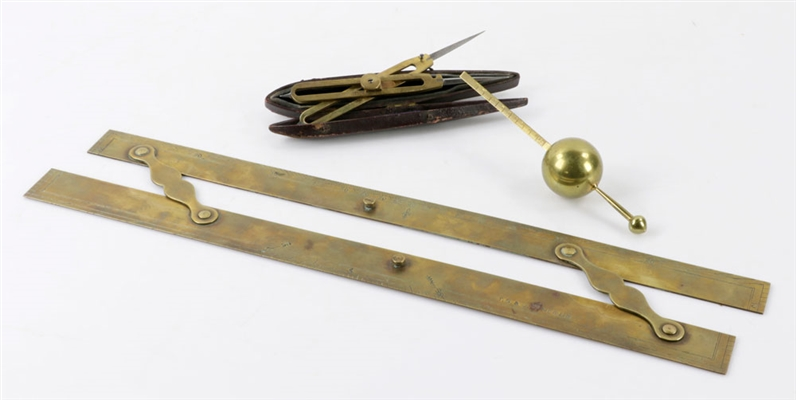 Early Brass Nautical Charting Tool w/ (2) Other Items