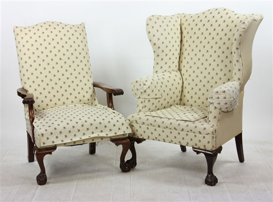 2 Chippendale Style Upholstered Chairs