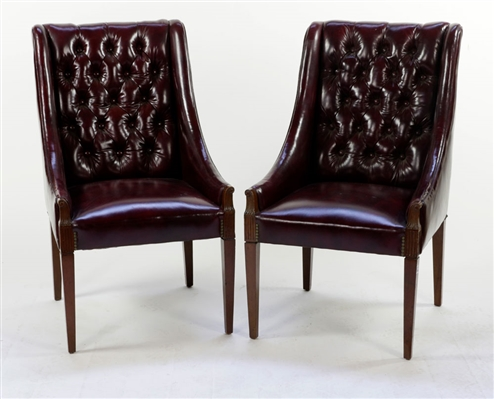 Pr. English Tufted Leather Armchairs