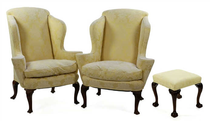 Pr. English Queen Anne Wingback Chairs and Ottoman