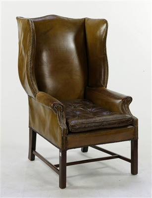 Chippendale Style Leather Wingback Chair