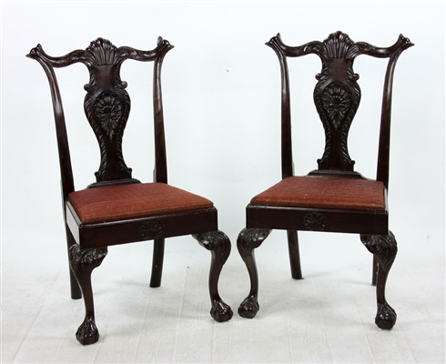 Pr. Chippendale Style Side Chairs