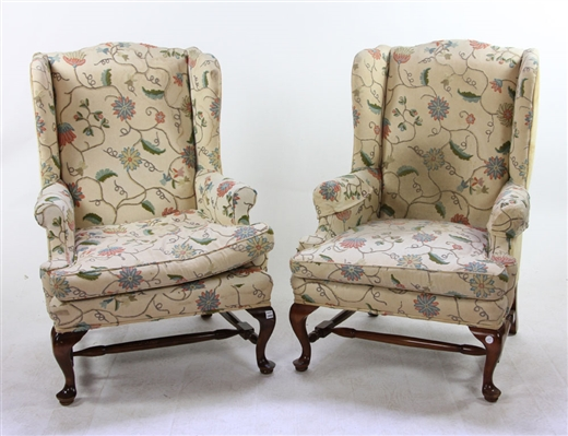Pr. Queen Anne Style Crewel Work Wingback Armchairs