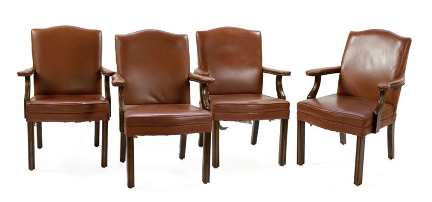 4 Chippendale Style Leather Armchairs
