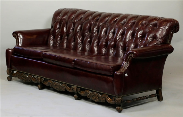 Chesterfield Style Tufted Leather Sofa
