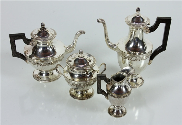 French Four-Piece Silver Plate Tea Set