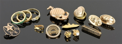 14K Yellow Gold Jewelry, Assorted Rings, Earrings, etc.