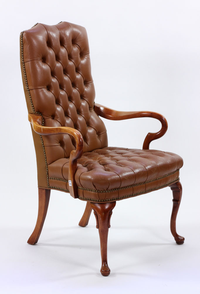 Lot Detail - Chesterfield Style Leather Armchair