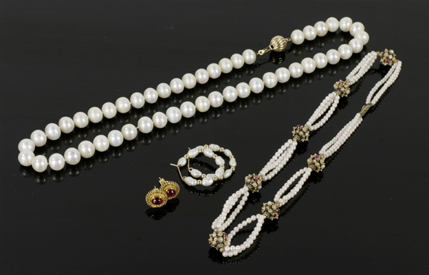 Fancy Pearl Necklace and Earrings