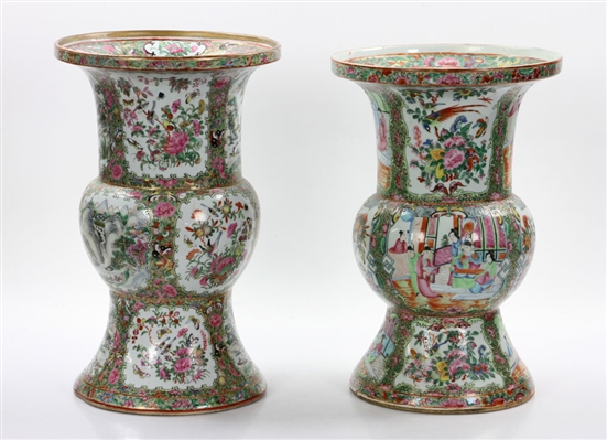 Two Chinese Gu Rose Medallion Vases