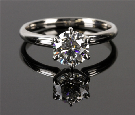 Ladies 14K White Gold Six Prong Set Solitaire Ring