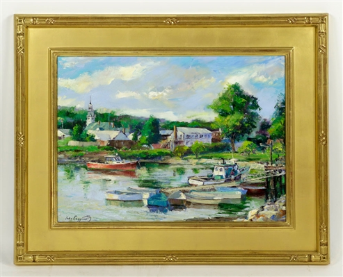 "Caggiano, ""Manchester by the Sea Harbor,"" Oil on Canvas"