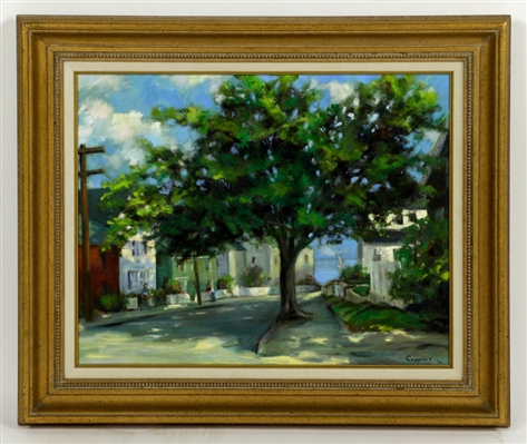 "Caggiano, ""Upper Main Street, Rockport,"" Oil on Canvas"
