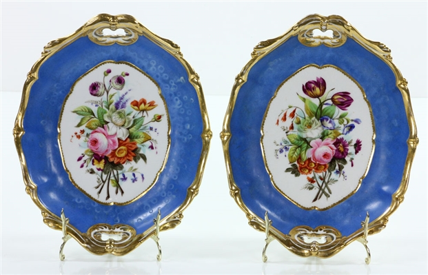 Pr. 19th C.Hand Painted French Serving Bowls