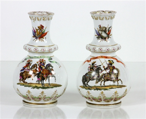 19th C. Pr. Hand Painted German Vases