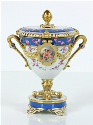 19th C. German KPM Covered Urn Centerpiece
