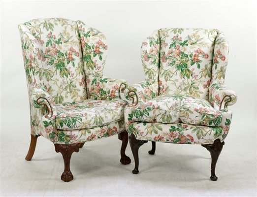 Two Antique Upholstered Wing Chairs