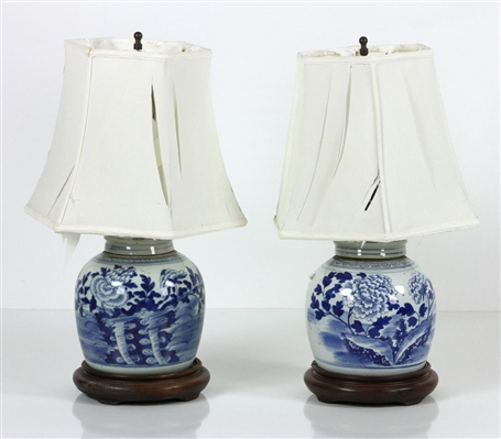 2 Chinese Blue and White Ginger Jar Lamps