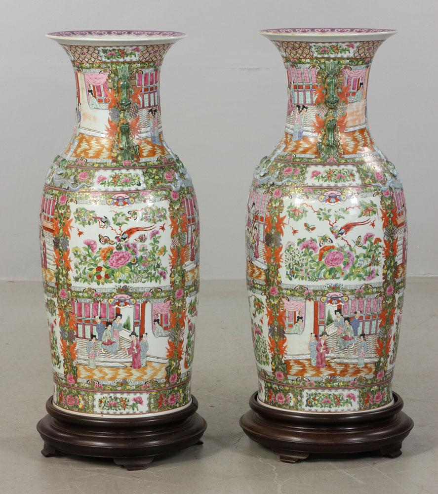 Lot Detail Pr Monumental Chinese Rose Mandarin Palace Vases