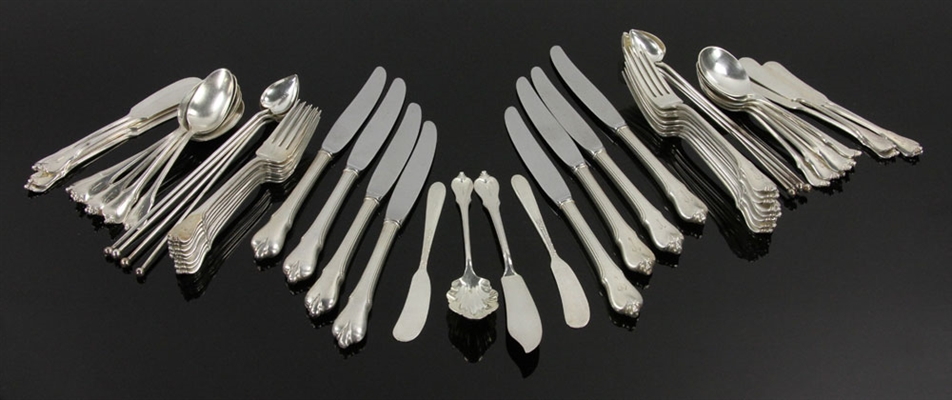 "Lot of Wallace Sterling Silver ""Grand Colonial"" Flatware Set"