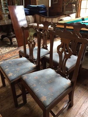 19th C. Set of Chippendale Style Mahogany Side Chairs