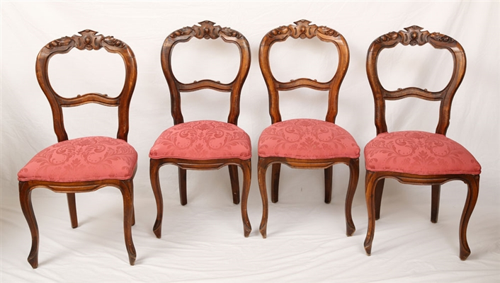 Four Antique Louis Philippe Carved Chairs