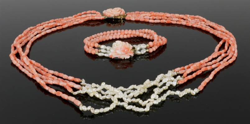 Coral & Fresh Water Pearl Necklace & Bracelet Set