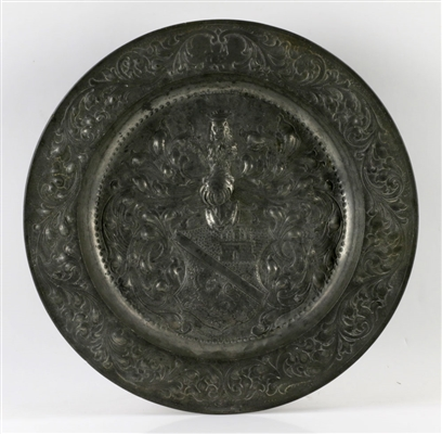 18th C. English Pewter Charger w/ Crest