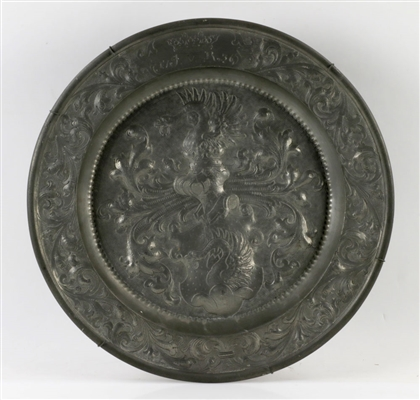 18th C. Polish Pewter Charger w/ Serpent