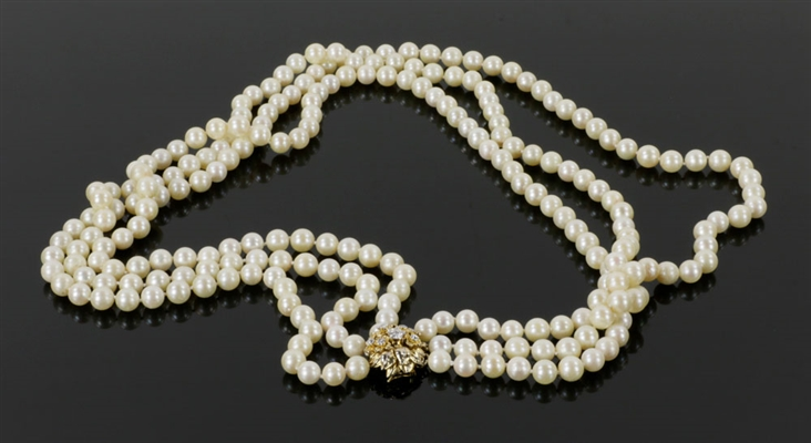 Ladies Triple Pearl Necklace, w/ 14k Diamond Clasp