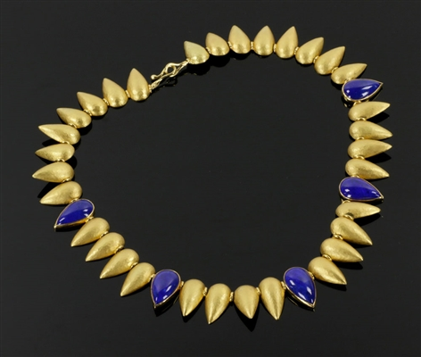 Ladies 18k Greek Necklace w/ Blue Enamel