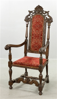 C1700 Flemish Carved Upholstered Armchair
