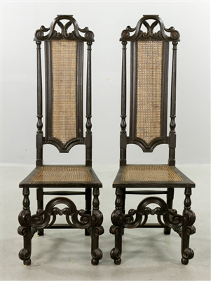 Pr of William & Mary Style Tall Chairs