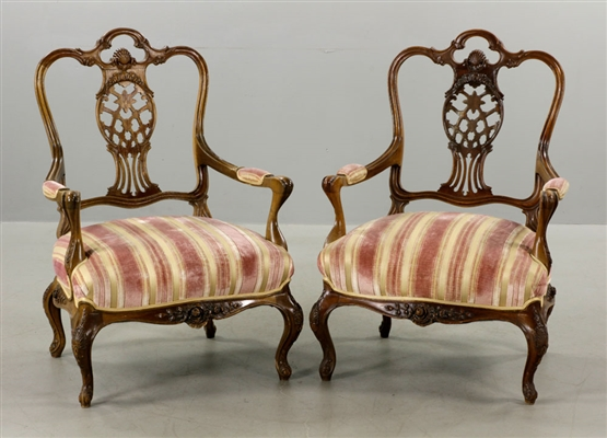 Pr of Continental Carved Upholstered Armchairs