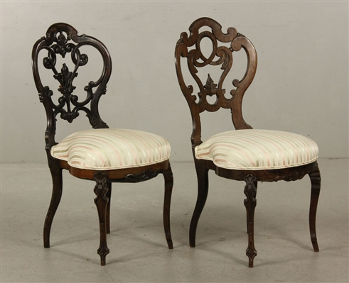 Pr. 19th C. Belter Rosewood Side Chairs