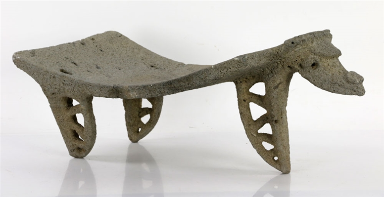 Pre-Columbian Carved Lava Rock Stool