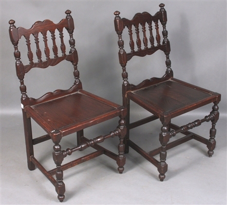 Pr. 19th C. Carved Oak Side Chairs