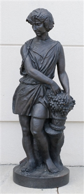 Classical Cast Iron Figure Holding Grapes
