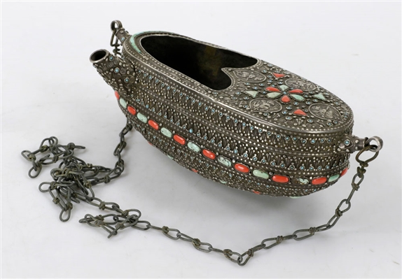 "19th C. Silver Turquoise & Coral ""Kashkoul"""