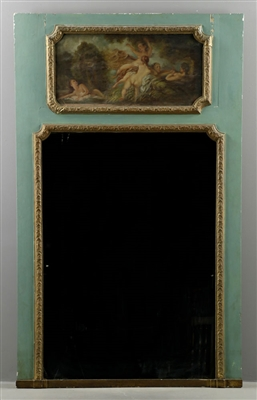 19th C. French Trumeau Mirror w/ Handpainted Panel